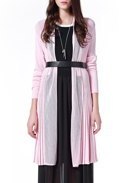 Pink Casual Pleated Cardigan