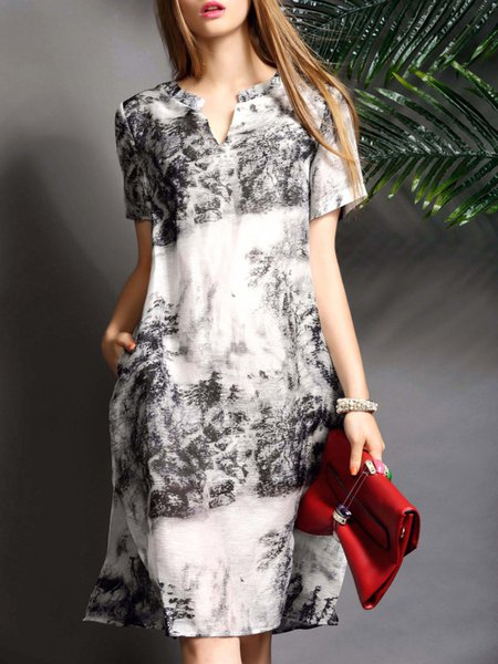White Short Sleeve Printed Slit Abstract Midi Dress