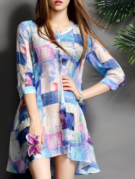 Blue Casual Printed Crew Neck A-line Mini Dress