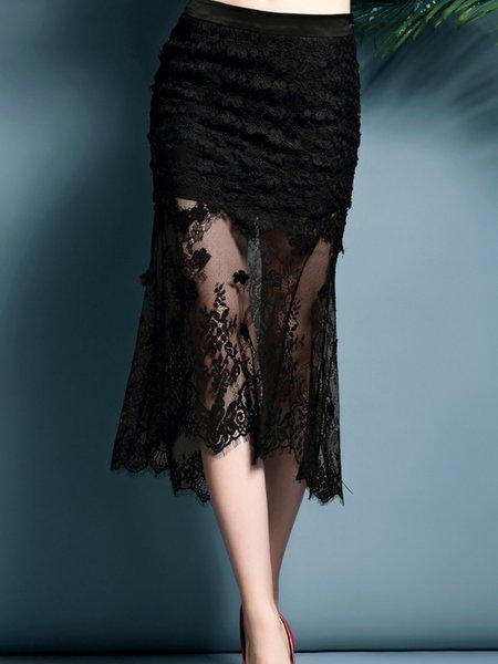 Black Lace Bodycon Floral Midi Skirt