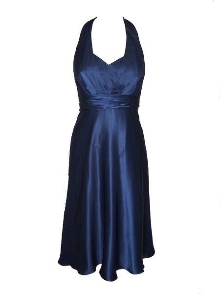 Navy Satin Halter Sleeveless Cocktail Folds Mini Dress