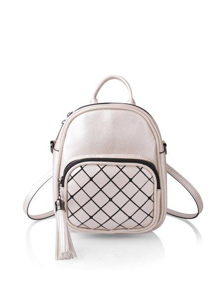 White Zipper Casual Backpack