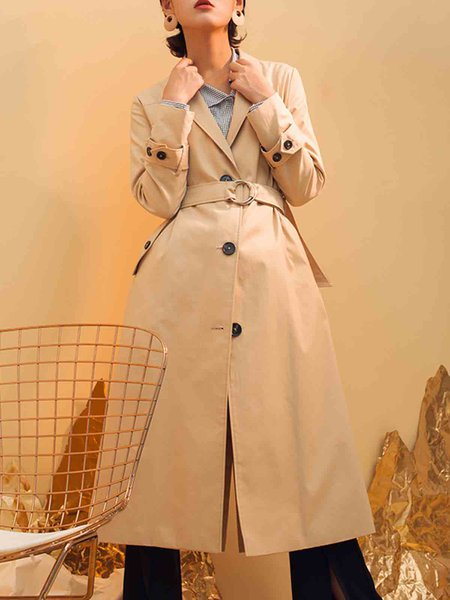 Khaki Elegant Lapel Cotton-blend Trench Coat With Belt