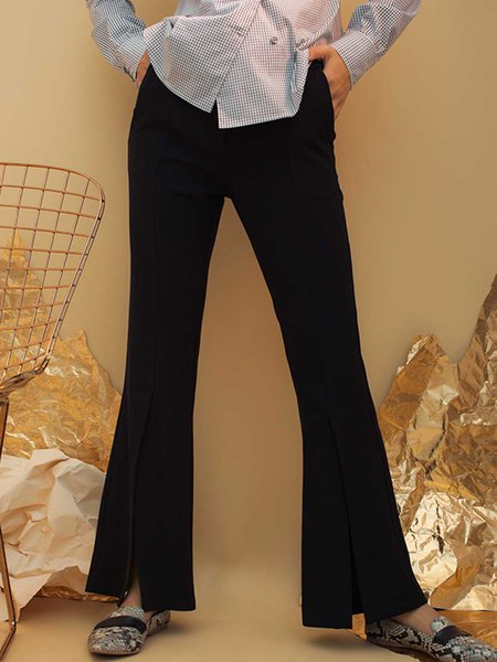 Black Slit Simple Polyester Flared Pants