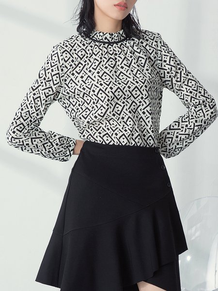 Elegant Geometric Cotton Stand Collar Long Sleeve Blouse