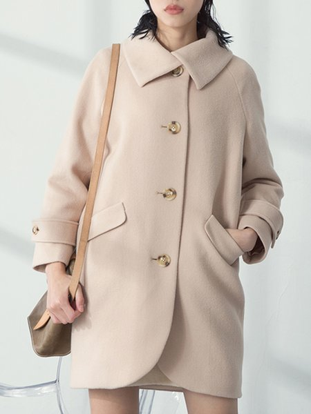 Beige Long Sleeve Cocoon Wool blend Coat