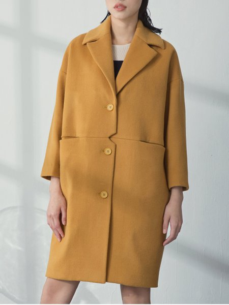 Yellow Simple Shift Buttoned Lapel Coat