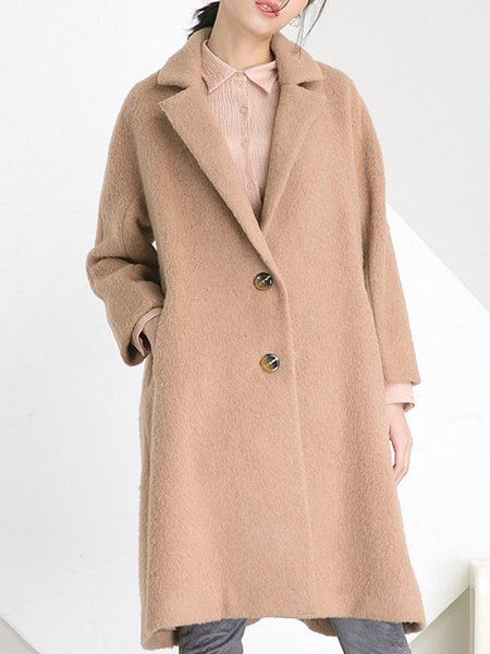 Wool Blend Long Sleeve Simple H-line Buttoned Coat