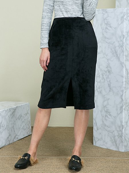 Black Bodycon Suede Slit Elegant Midi Skirt