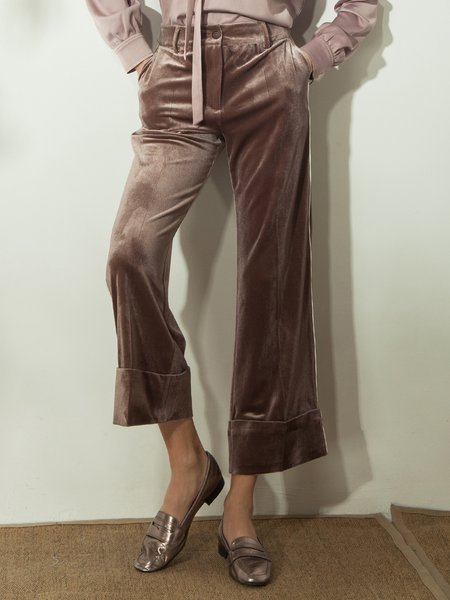 Coffee Casual Pockets Wide Leg Pants