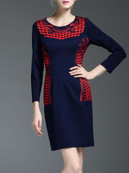 Dark Blue Simple Zipper Color-block Midi Dress