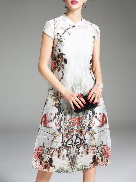 White Elegant Stand Collar Two Piece Printed Dress With Cami