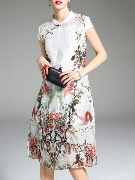 Stand Collar White Midi Dress Two Piece Short Sleeve Printed Dress