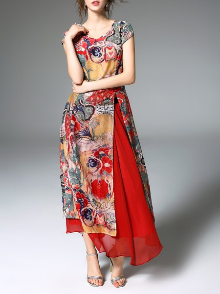 Multicolor Printed A-line Short Sleeve Abstract Maxi Dress