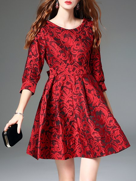 Red Plain Cutout Crochet Elegant A-line Mini Dress
