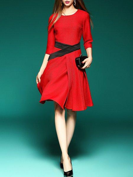 Red A-line Paneled 3/4 Sleeve Cotton Knee Length Dress