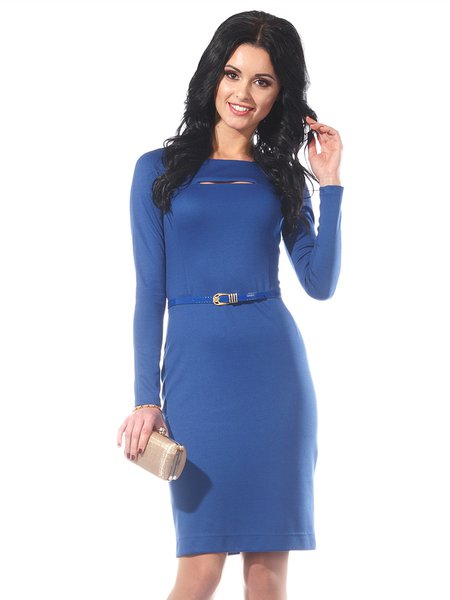 Casual Solid Sheath Long Sleeve Crew Neck Midi Dress
