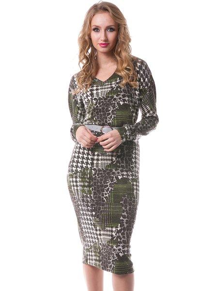 Green Long Sleeve Wool Printed Sheath Midi Dress