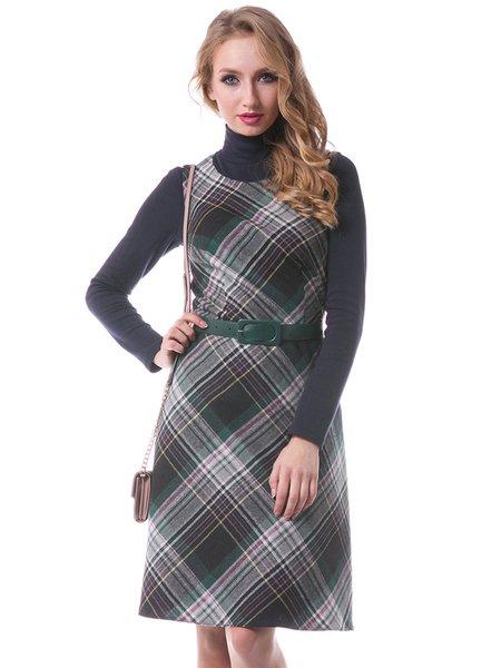 Long Sleeve Checkered Casual Midi Dress