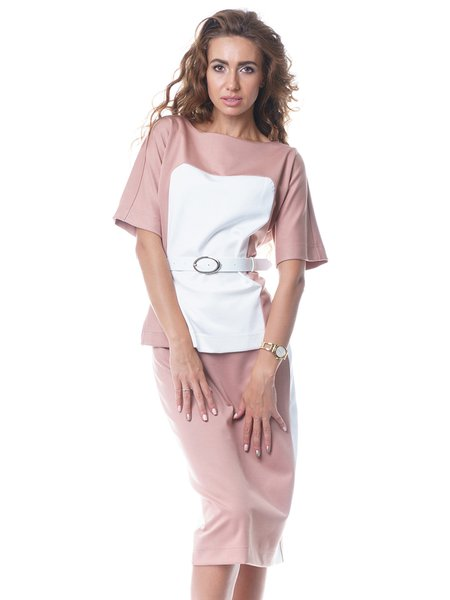 Boat Neck Short Sleeve Slit Casual Top With Skirt