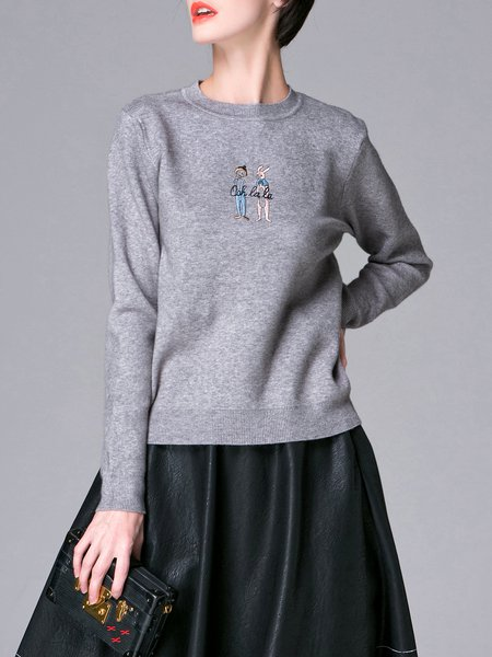 Gray Knitted Plain Cotton Long Sleeve Sweater