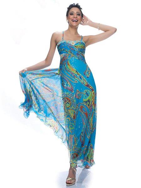 Blue Printed Chiffon Spaghetti Maxi Dress
