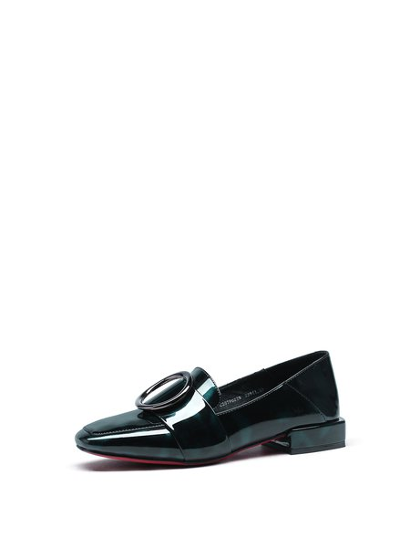 Black-green Buckle Casual Synthetic Loafers