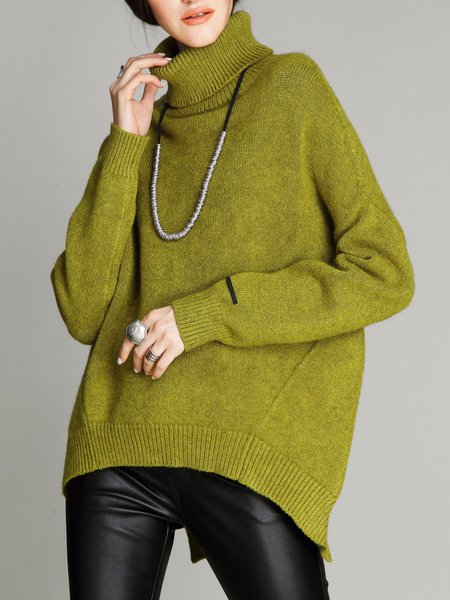 Solid Batwing Simple Slit Turtleneck Sweater