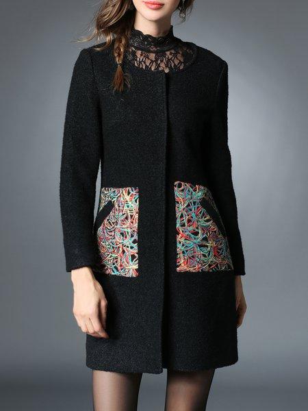 Black Color-block Long Sleeve H-line Coat