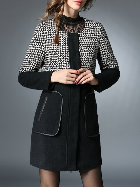 Black Houndstooth Long Sleeve Coat with Pockets