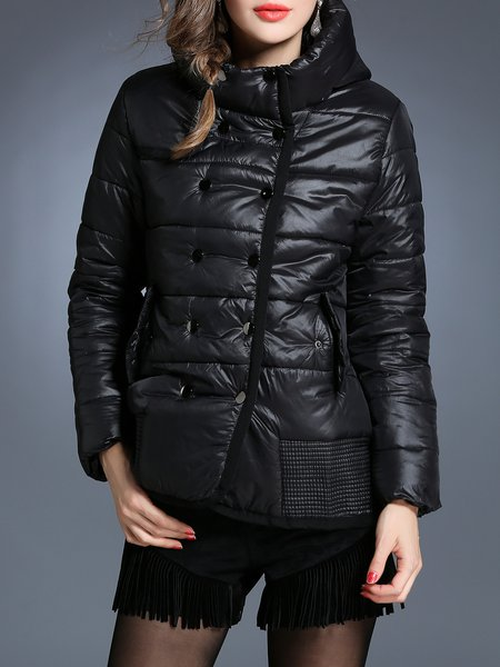 Black Plain H-line Hoodie Casual Coat