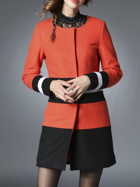 Orange Color-block Casual Coat