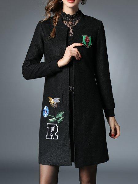 Plain Black Appliqued H-line Long Sleeve Coat