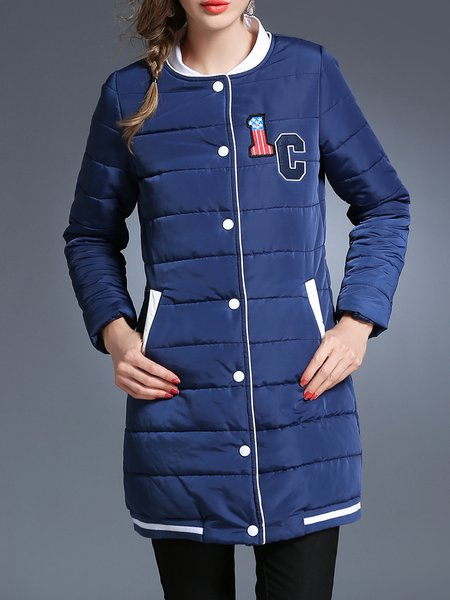 Blue Long Sleeve Coat with Pockets