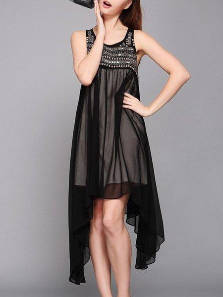 Beaded Asymmetric Black Crew Neck A-line Sleeveless Chiffon Midi Dress