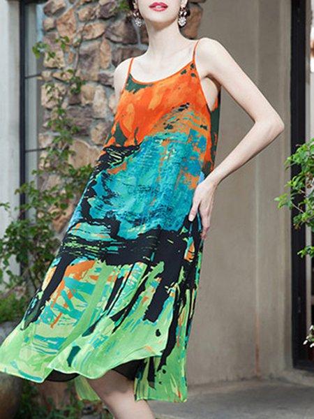 Spaghetti A-line Casual Abstract Midi Dress