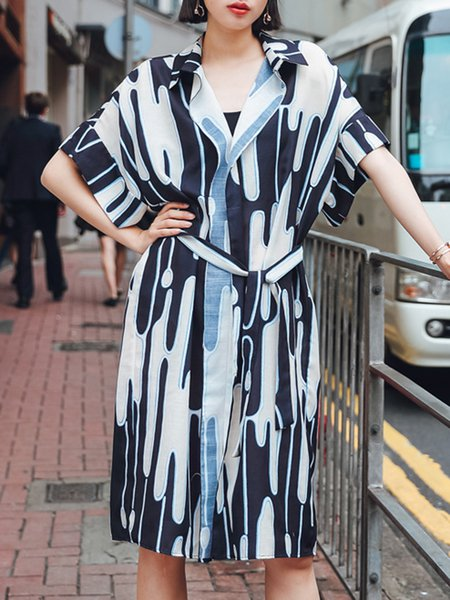 Shirt Collar Casual  Half Sleeve Shift Midi Dress