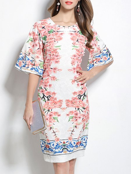 Floral-print Slit Elegant 3/4 Sleeve Crew Neck Mini Dress
