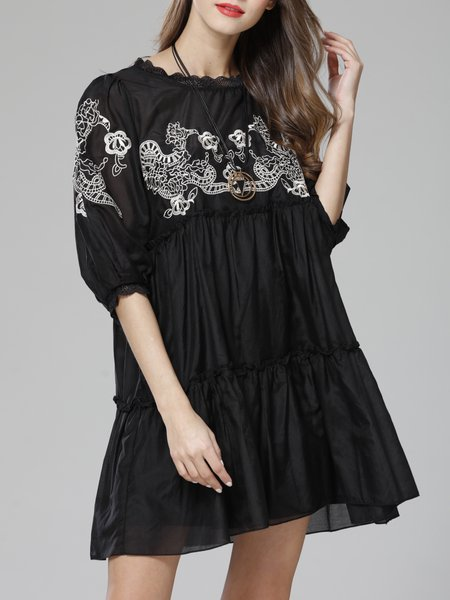 Two Piece Black Embroidered 3/4 Sleeve Crew Neck Mini Dress With Cami