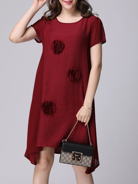 Wine Red Appliqued Casual Crew Neck H-line Midi Dress