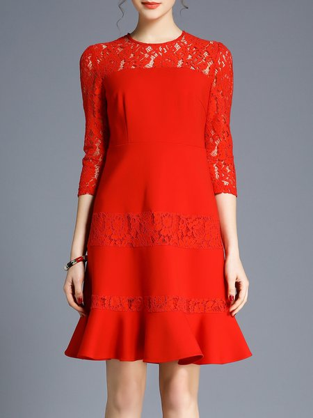 Red Ruffled Pierced 3/4 Sleeve Cotton-blend Crew Neck Midi Dress