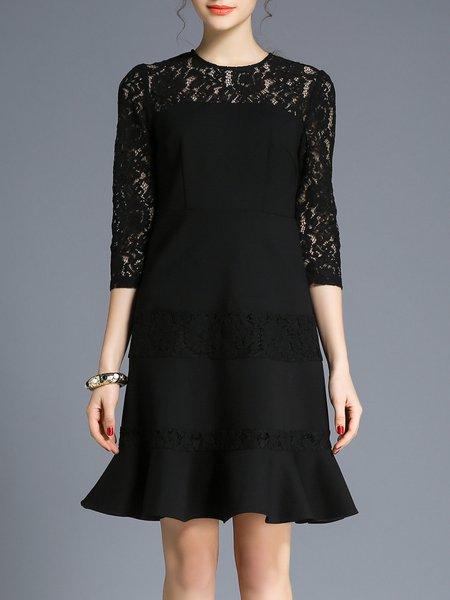 Elegant 3/4 Sleeve Cotton-blend Flounce Midi Dress