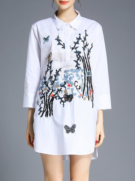 Embroidered Cotton Casual 3/4 Sleeve Shift Shirt Dress