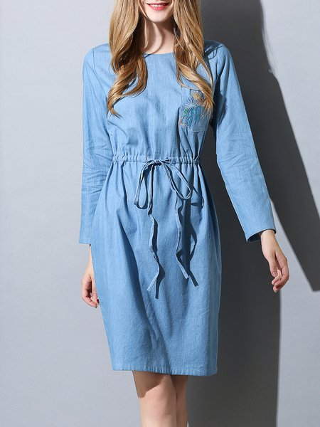 A-line Long Sleeve Cotton Plain Simple Midi Dress