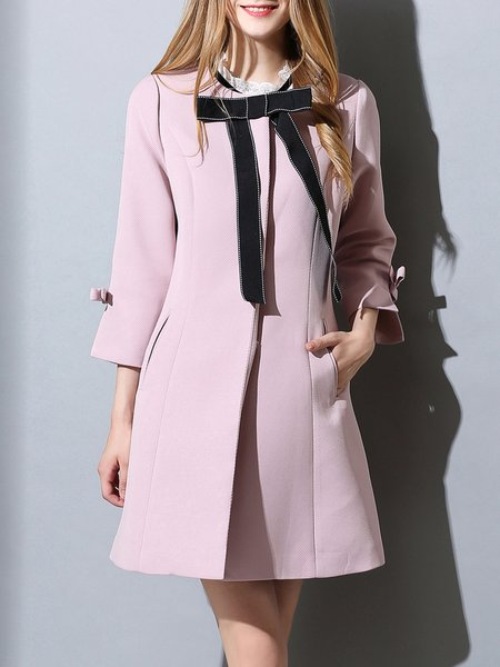 Bow Girly H-line 3/4 Sleeve Coat