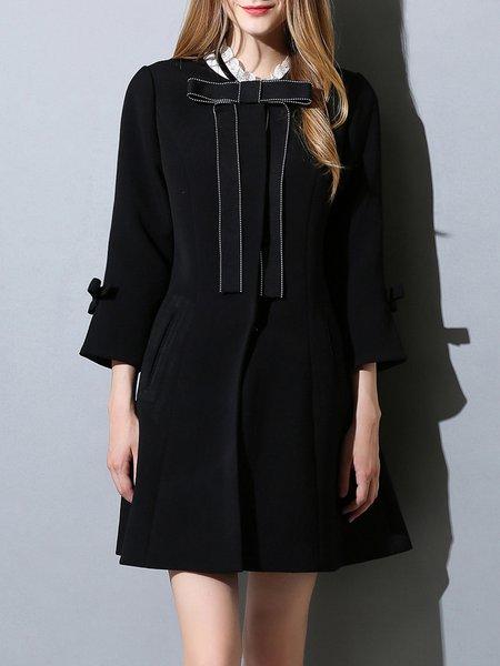 Black 3/4 Sleeve Woven Bow Crew Neck Coat