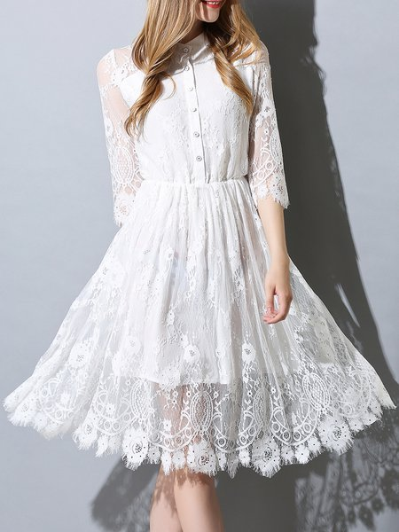 White Stand Collar Guipure Lace A-line 3/4 Sleeve Shirt Dress
