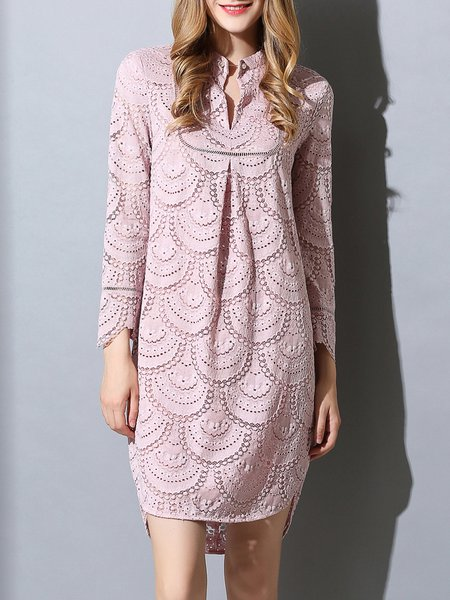 Pink Lace Plain Stand Collar Vintage Mini Dress