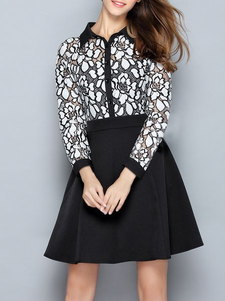 Black Pierced Girly Shirt Collar Mini Dress