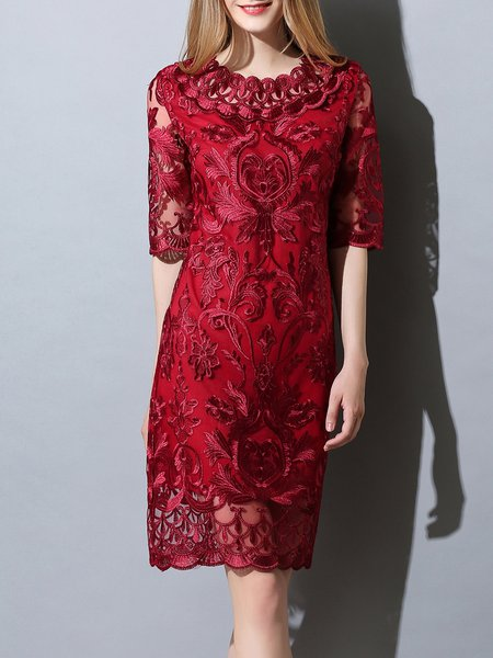 Wine Red Half Sleeve Embroidered Pierced Midi Dress